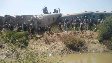 صورة 32 وفاة و 66 إصابة بحادث تصادم قطارين بسوهاج