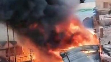 صورة حريق بجوار محطة قطارات الزقازيق (صور)