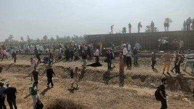 صورة خروج قطار عن القضبان بالقرب من محطة طوخ فى القليوبية